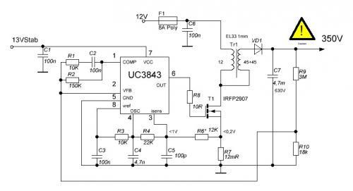 микросхеме UC3843 схема